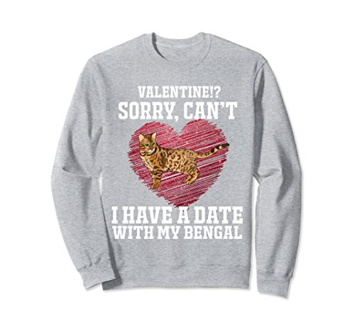 Unisex I Have A Date With My Bengal Cat Funny Sweatshirt Medium Heather Grey