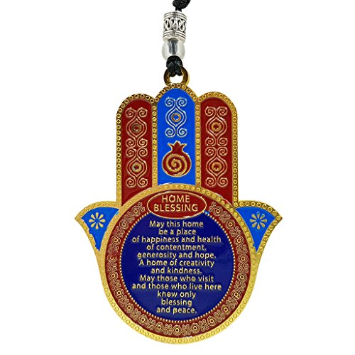 Good Luck Hamsa Hand Home Blessing Wall Hanging Decor Evil Eye Protection Amulet Hebrew English ()