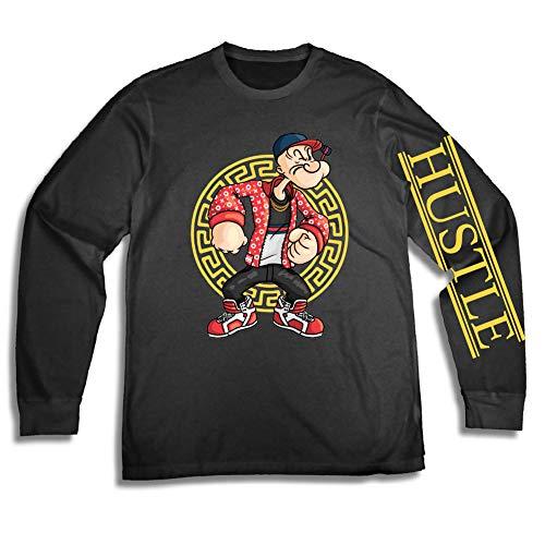 Mens Popeye The Sailor Shirt - Popeye The Sailor Man Long Sleeve Tee - 90's Classic T-Shirt (Black, Medium)