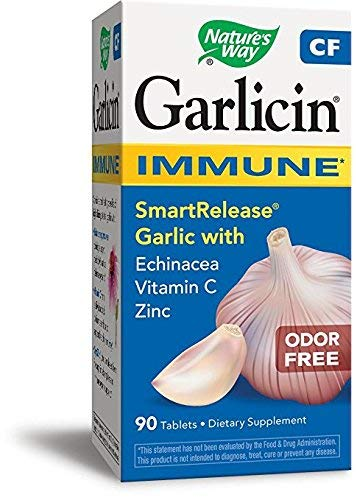 Natures Way Garlicin CF Immune 90 Tablets. Pack of 4