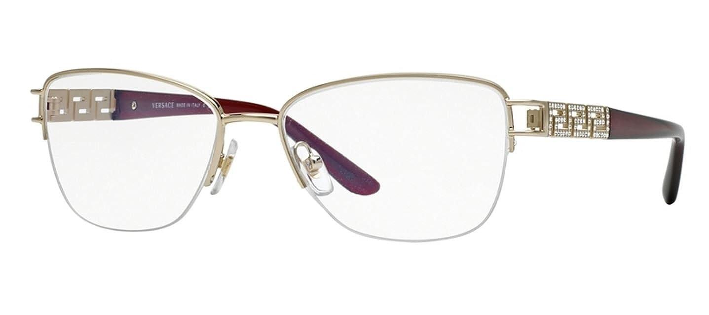Versace Montures de lunettes Pour Femme 1220B - 1252  Pale Gold - 52mm   Amazon.fr  Vêtements et accessoires db6be2d71459