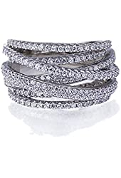 Rhodium Plated Sterling Silver Intertwined Design CZ Right Hand Ring 13.5mm