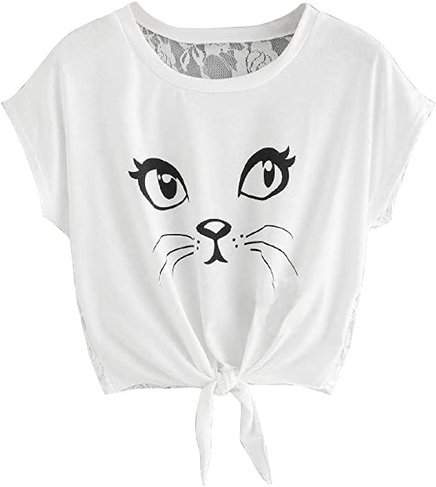 e609ff4bd8e35 OOEOO Teen Girl Cute Cat Printed Short Sleeve Round Neck Shirts Lace Back Blouses  Tops (