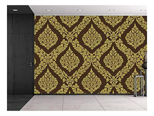 Thai Flower Pattern in a Traditional Style Temple Gold and Brown Classic Exquisite Design Wall Mural