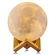 Gahaya14CM Moon Lamp, 3D Printed, Touch Control, Stepless Dimmable, Warm White & Cool White, PLA Material, USB Recharge