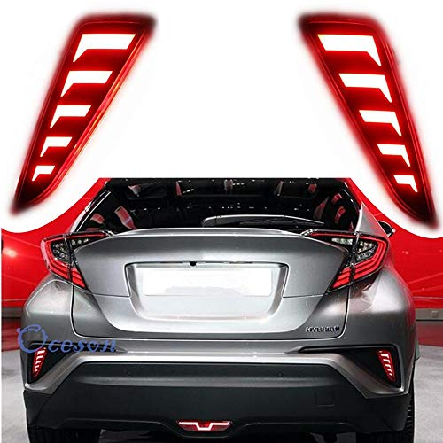 Oceson Smoked Lens LED Rear bumper Lights Safety Brake Warning Lights Driving Lights Signal Lamp For Toyota C-HR CHR 2017 2018 -