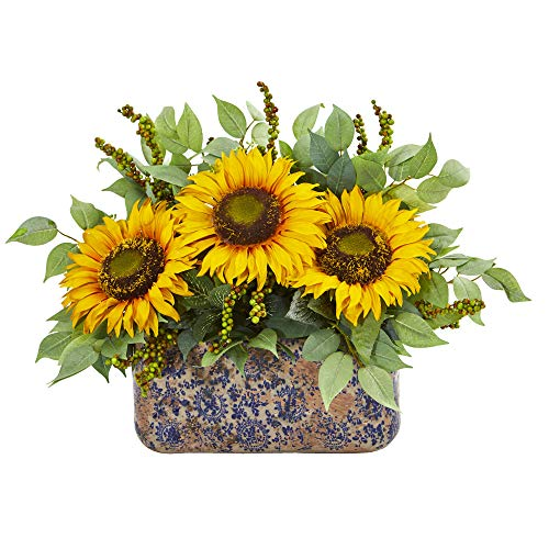 Sunflower and Mixed Green Forage Centerpiece