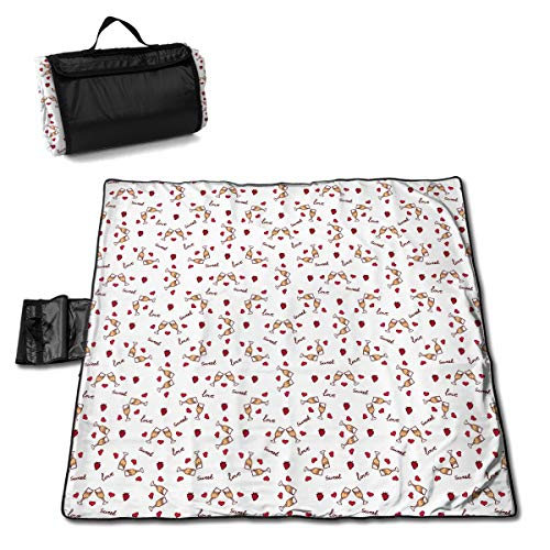 - Cureably Wine Glasses and Strawberries Filled with Wine Personalized Picnic Mat Handy Beach Mat Picnic Blanket for Beaches and Outings 57