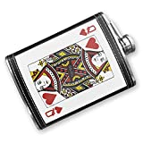 8oz Flask Stitched Queen of Hearts - Queen / card game Stainless Steel - Neonblond