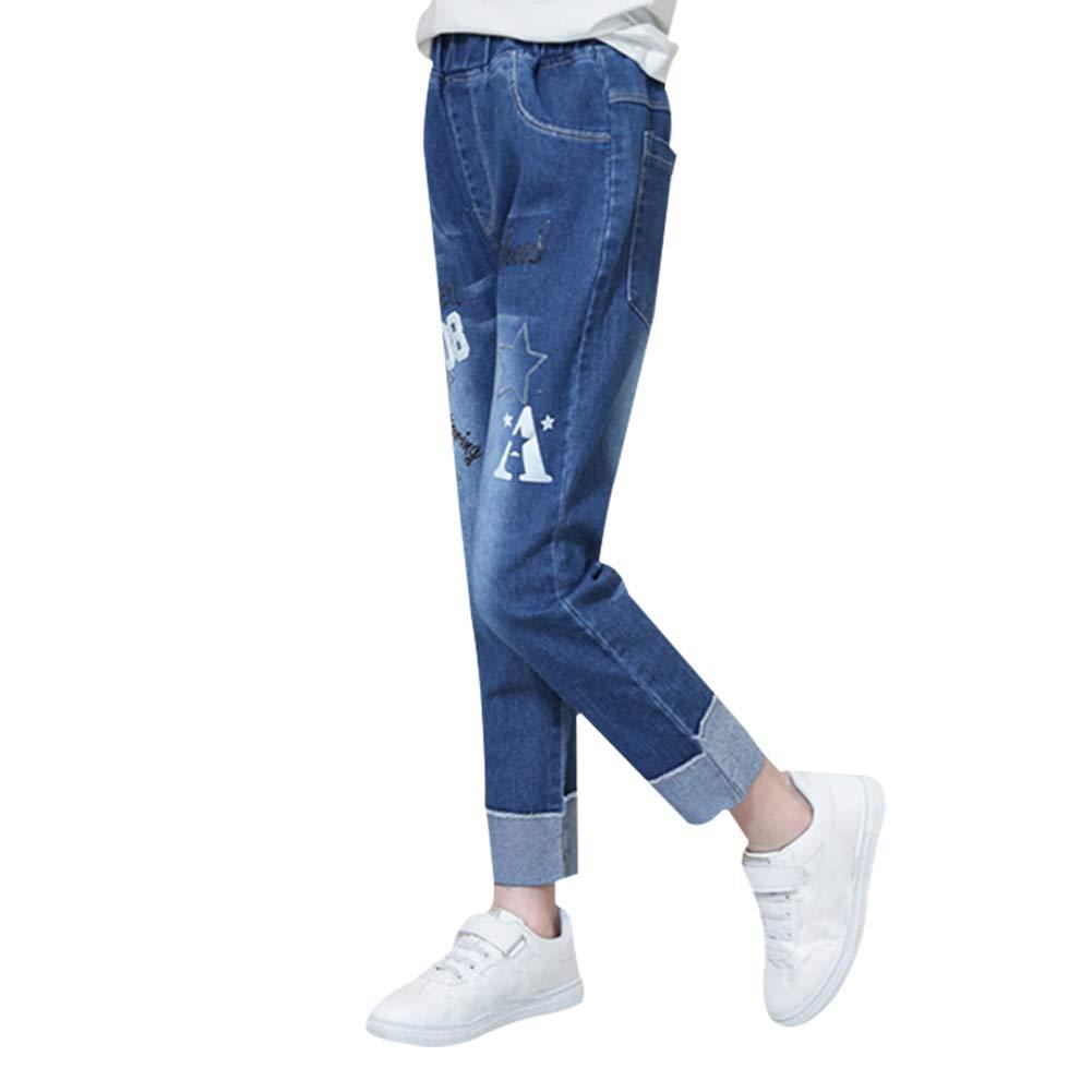 Dosige Ages 8-12 Girls Jeans Printing Fashion Pentagram Pattern Jeans Autumn Cotton Trousers size 140 CM (Blue -L)