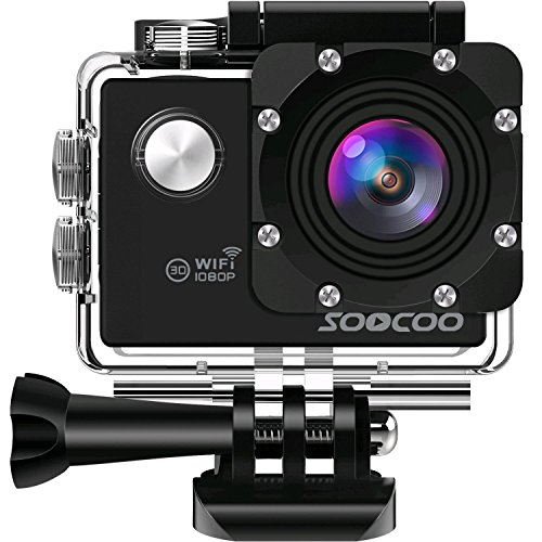"WIFI Action Camera, SOOCOO Sports Video Camera Waterproof 12MP Full HD 1080P 2.0"" LCD 170 degree Wide Angle, 30M/98ft Underwater Diving Camera Camcorder with 2 Batteries (SD Card Not Included)-Black from SOOCOO"