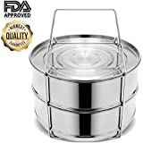 Stackable Steamer Insert Pans, Stainless Steel Insert Steamer for 6/8 Quart Instant Pot Pressure Cooker Baking Lasagna Pans Pot in Pot Accessories Cook 2 foods at Once