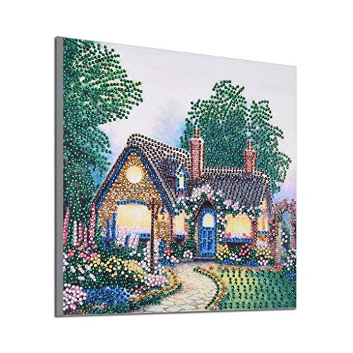 Special Shaped Diamond Painting,Toponly DIY 5D Partial Drill Cottage Landscape Cross-Stitch Mosaic Beads Art Work Home Décor