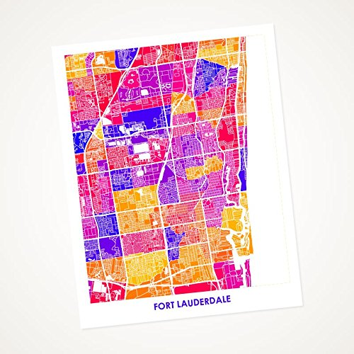 Fort Lauderdale, FL Art Map Print. Choose your Colors and Size. Perfect gift for your South Florida local. Map of Ft. Lauderdale, - Style Fort In Lauderdale