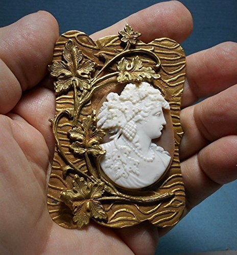 1900S BACCHANTE CAMEO Sash Pin Brass Setting of Leaves w/ Hand Carved Shell Cameo Bacchante Goddess w/ Grapes & Leaves 2 3/4