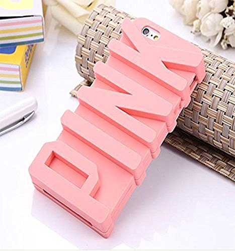 iPhone 6 Case, JEPN 3D PINK big letters Silicone Case for the Apple iPhone 6 4.7 inch (Pink Phone Case)