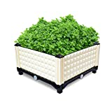 Eosphorus Raised Planting Box Flower Bed Grow Plants Vegetables Herbs Flowers Backyard Elevated Planter Box Indoor Outdoor Home Garden Patio Terrace | Beige Plastic