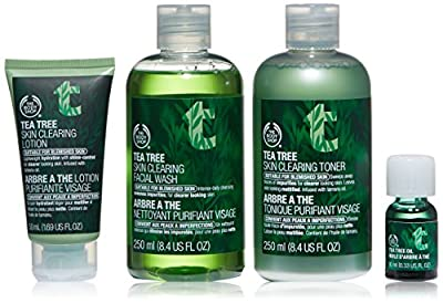 The Body Shop Tea Tree Skincare Routine Kit, Made with Tea Tree Oil, 4pc Skin Care Set for Blemish-Prone Skin
