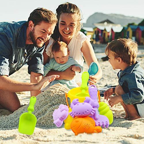 3 otters Beach Toys Set, Baby Beach Toys Beach Shovels RakesTool Kit Sand Bucket Boys and Girls Beach Toys Set 9PCS