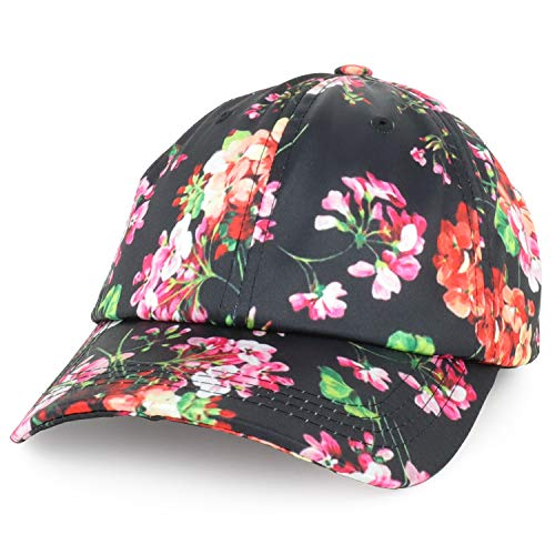 Trendy Apparel Shop Women's Floral Print Satin Unstructured Low Profile Baseball Cap - Black ()