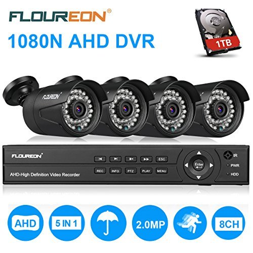 FLOUREON House Security Camera System 1080N DVR + 4 Pack 2.0MP CMOS Lens CCTV Security Camera 3000TVL Night Vision Remote Access Motion Detection