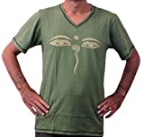Men's V-Neck T-Shirt Buddha Eye (Green, Small)