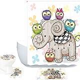 owl bathroom mat Amagical 16 Pieces Bathroom Mat Set Shower Curtain Set Cute Cartoon Elephant and Owls On a Floral Background Bath Mat Contour Mat Toilet Cover Shower Curtain with 12 Hooks