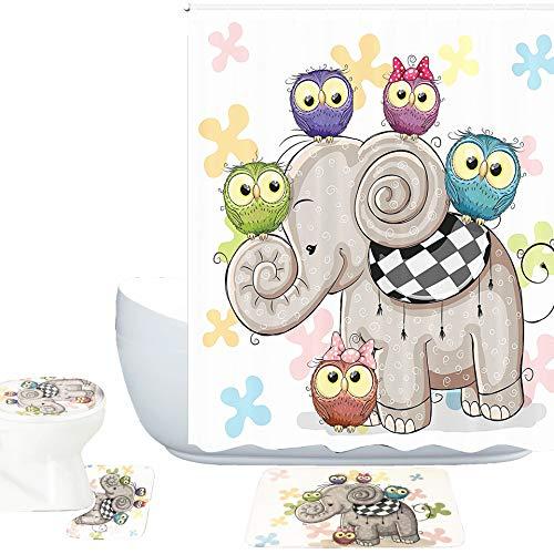 Amagical 16 Piece Bathroom Mat Set Shower Curtain Set Cute Cartoon Elephant and Owls On a Floral Background Bath Mat Contour Mat Toilet Cover Shower Curtain with 12 Hooks (Elephant and Owls) (Bath Owl Accessories)