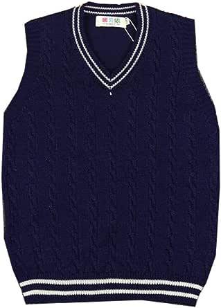 Otoño Chaleco de Punto para niños Camiseta sin Mangas sin Mangas Jerséis Jersey con Cuello en V Jersey para 1-7 años de Edad