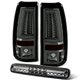 For [LED Set] 03-06 Chevy Silverado GMC Sierra C-shape Light Tube Smoked Tail light + 3rd Brake Lamp