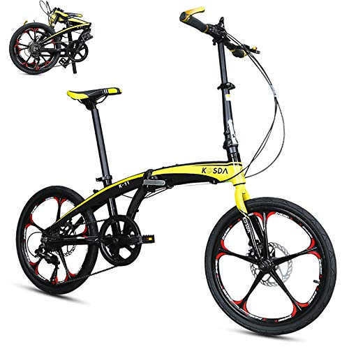 ZXCTTBD Lightweight Folding Bike,Portable Foldable Bicycle with Adjustable Seat and Handlebar and 7-Speed Drivetrain for City Riding Commuting and Walking to Work,20-Inch Wheels (Best Cities For Bike Commuting)