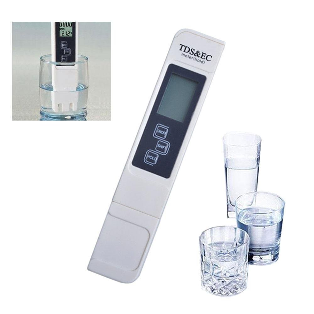 Aolvo Misuratore TDS Professionale Misuratore Digitale EC e TDS 0-9990 PPM - TDS Tester Qualità Acqua per la Misurazione della Qualità dell'acqua Potabile, Idroponica, Stagni, Piscine, Spa