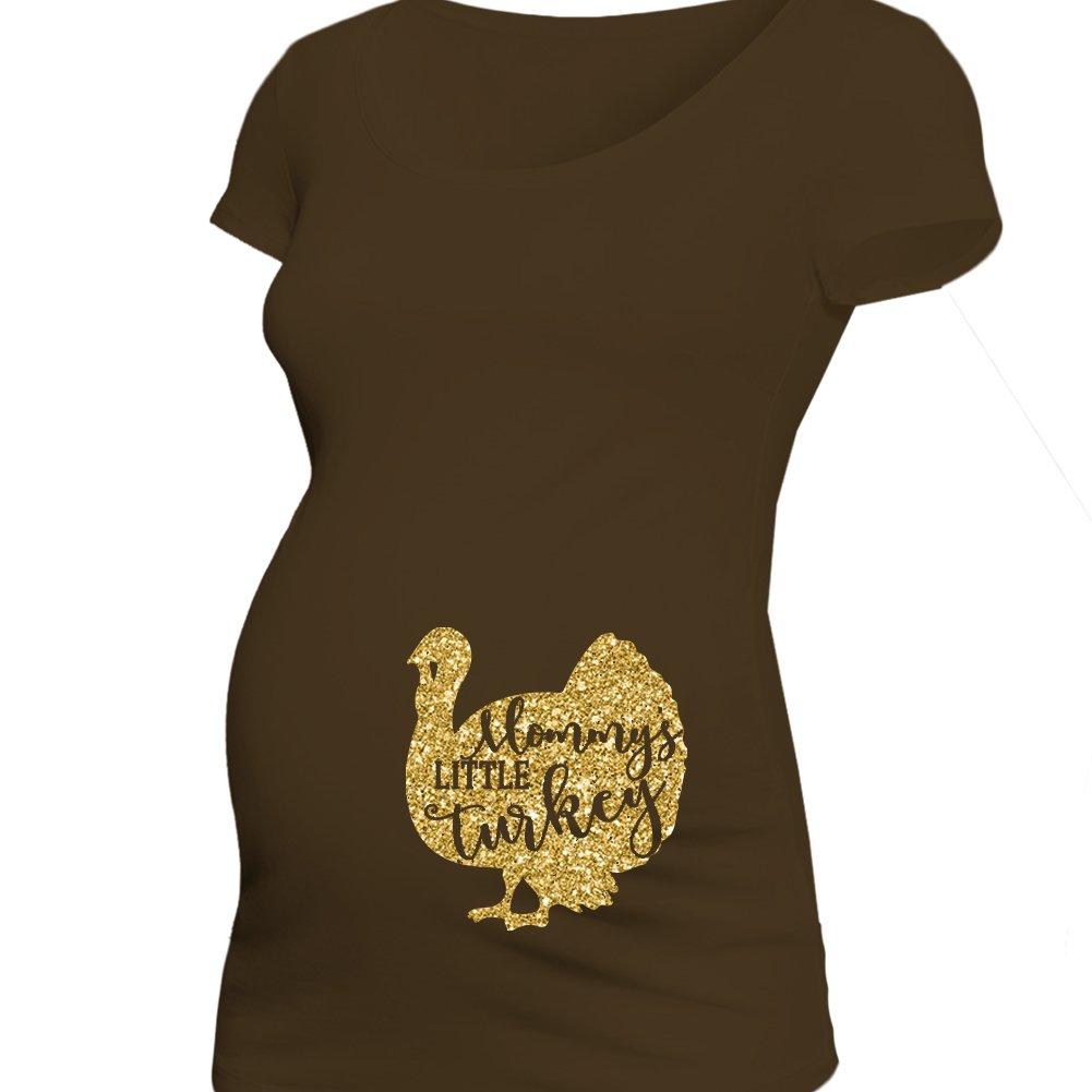 Thanksgiving Mommy's Little Turkey - Belly Print - Glitter Maternity shirt (Small)