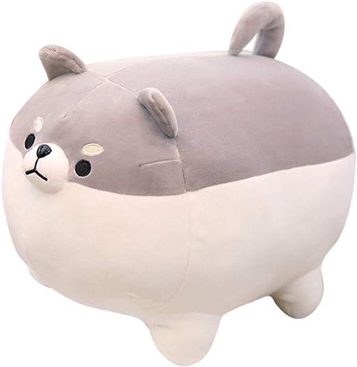 Shiba Inu Dog Plush Pillow,Cute Corgi Stuffed Animal Toy Doll Gifts for Valentine,Christmas (Gray, 15.7 inch)
