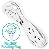 Maximm Cable 10 Ft 360° Rotating Flat Plug Extension Cord / Wire, Multi Outlet Extension Wire, 3 Prong Grounded Wire - White