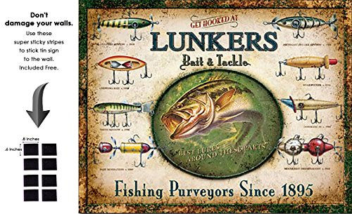 Shop72 - Lunker's Baits n Tackles Tin Sign Retro Vintage Distrssed - with Sticky Stripes No Damage to Walls ()