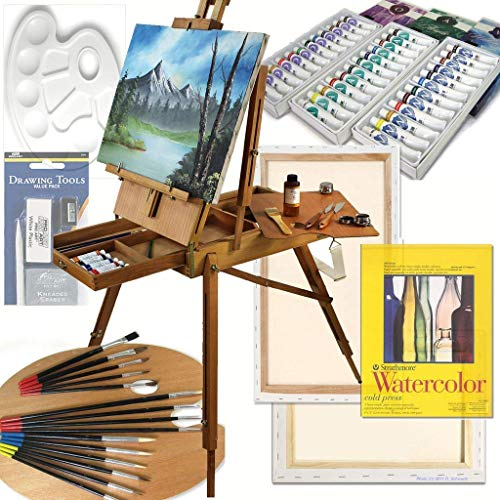 Art Set with HARDWOOD French Easel, Paints, Stretched Canvases, Brush Sets, Drawing Supplies and More -