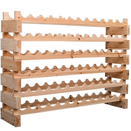 HOMCOM 72 Bottle Rustic Solid Wood Storage Display Fancy Wine Rack