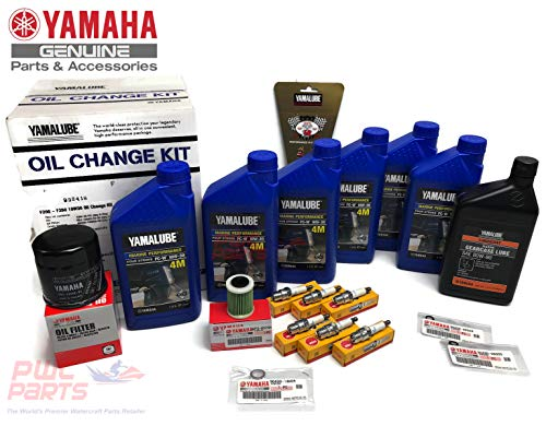 - YAMAHA OEM 2005+ F250A F250B 3.3L V6 Oil Change 10W30 FC 4M Lower Unit Gear Lube Drain Fill Gaskets NGK Spark Plugs LFR6A-11 Primary Fuel Filter Maintenance Kit