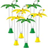 Palm Tree Luau Yard Cups Party 6-Pack - for Margaritas, Cold Drinks, Frozen Drinks, Kids Parties - 14 oz. (400 ml) - set of 6 Yard Cups in assorted Palm colors - BPA Free and Crack Resistant