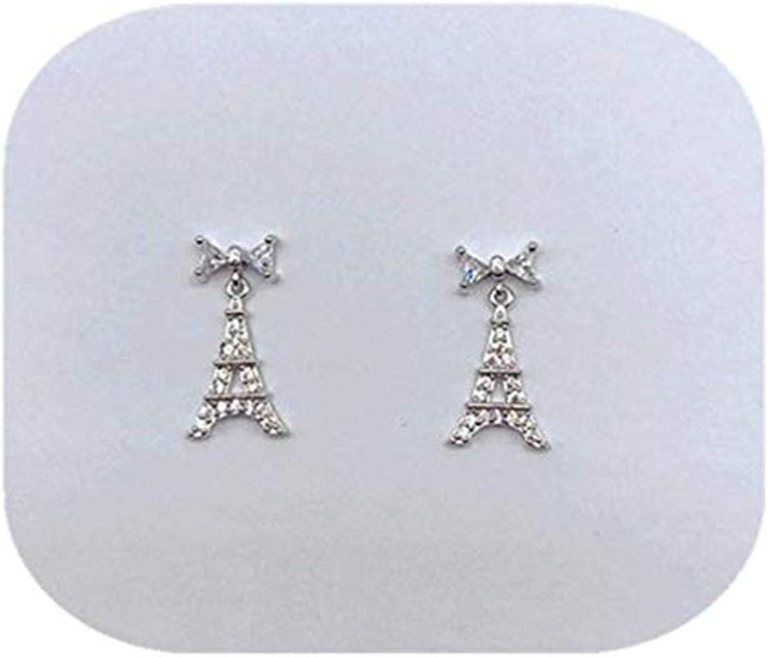 GYKMDF Torre Eiffel, pendientes de París, arete de lazo, regalo de viajero, arete de diamante con diseño
