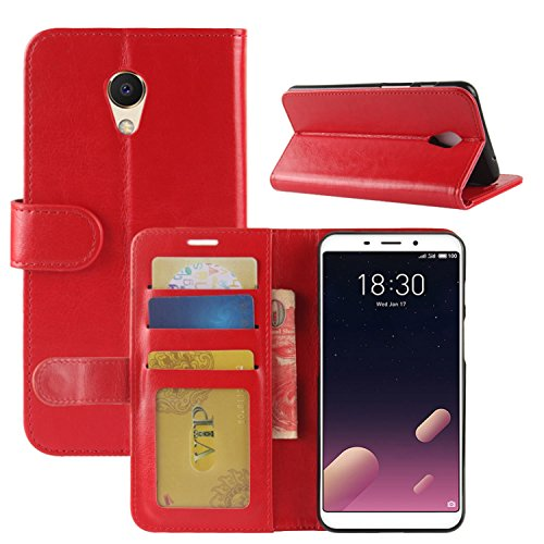 Wallet Phone Brown PU M6S M6S for Meizu Protective Red HualuBro Case Handmade Meizu Cover ID Meilan Credit Leather S6 Slots Card Case Flip with Premium xzfzwgq0BI