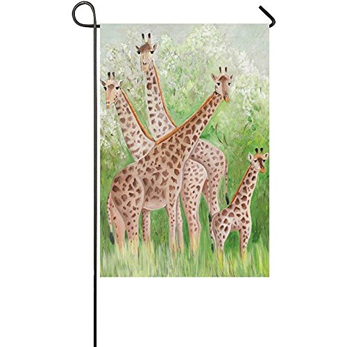 Mara Painting - Beigehome Painting Giraffe at Masai Mara National Park Double Sided Garden Flag 12 x 18 inch Yard Flag for Party Yard Home Outdoor Decor - Animal Deer