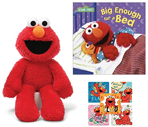 Big Enough for a Bed, Take Along Elmo, and Sesame Street Stickers - Stuffed Animal gift for toddler - Bundle of -