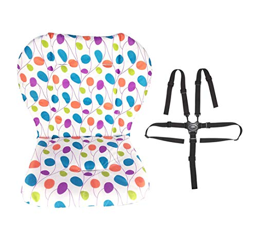 Baby High Chair/Stroller/Car Seat Cover Mat Cushion Liner Pad Protector Comfortable Breathable Soft High Chair Cover Baby High Chair Safety Seat Harness Cover with Highchair Straps ()