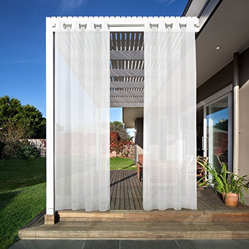 PRAVIVE Outdoor Sheer Curtain 96 - Indoor/Outdoor Ring Top Window Voile Curtain Drape for Patio, Porch, Gazebo and Pergola, 54