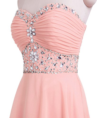 FAIRY Homecoming Dress Rosa COUPLE breve cristallo D0263 chiaro senza spalline Chiffon HU7qH