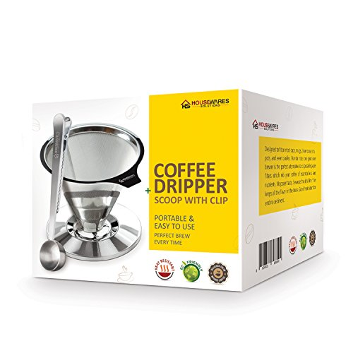 Housewares Solutions Stainless Steel Pour Over Coffee Dripper + Bonus Coffee Scoop With Built In Bag Clip And Cleaning…