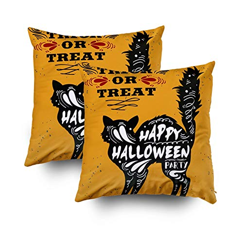 Crannel Pillow Cases Double-Sided Printing Pillowcase 18X18 Inch 2PCS Throwing Cushion Typography Poster Black Cat Quote Trick Treat Happy Halloween Invisible Zipper Square Decorative Home Sofa ()
