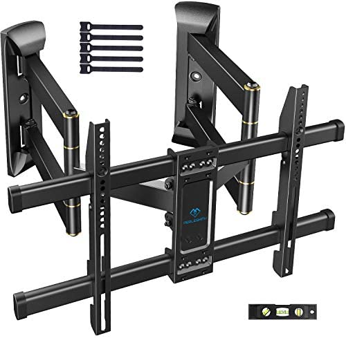 Corner TV Wall Mount Full Motion- Corner TV Bracket Fits 37-65 Inch LED, LCD 4K Flat Curved Screen TVs- Hold up to 99 lbs Max VESA 600×400 W Tilt, Swivel and Level